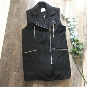 Second Female | Long Black Wool Vest